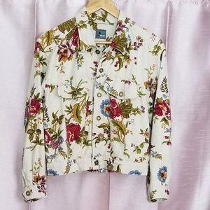 Liz Wear Linen Jacket Floral Garden Print L